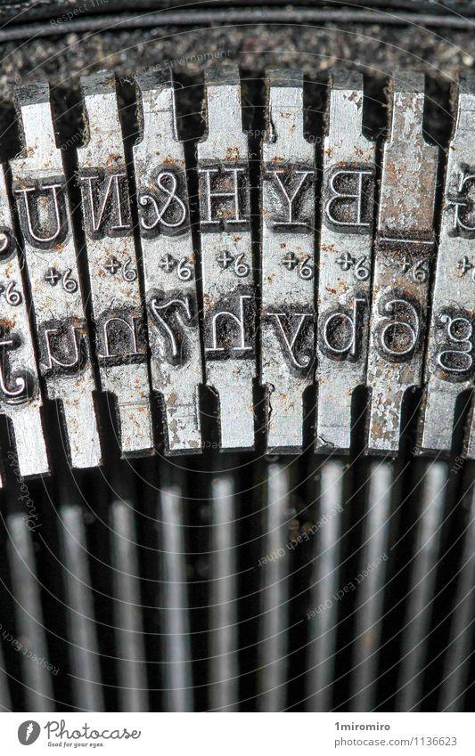 Schreibmaschinen-Detail alt Metall dreckig Büro Technik & Technologie Kommunizieren Netzwerk schreiben Rost Stahl Nostalgie Text Mitteilung Leistung klassisch