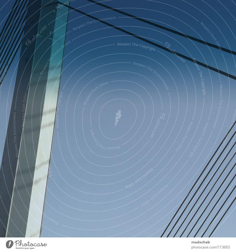 A86TRACT Y0UR W0RLD Himmel blau weiß Architektur Metall Linie hell Raum Hintergrundbild Beton Brücke Grafik u. Illustration Stahl Teilung Geometrie graphisch