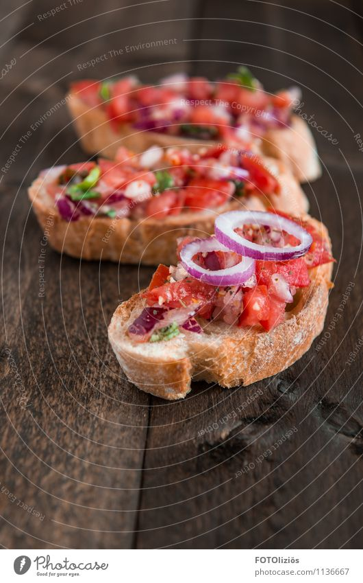 Bruschetta Lebensmittel Gemüse Teigwaren Backwaren Brot Kräuter & Gewürze Öl bruschetta Zwiebel Tomate Knoblauch Basilikum Ernährung Mittagessen Abendessen