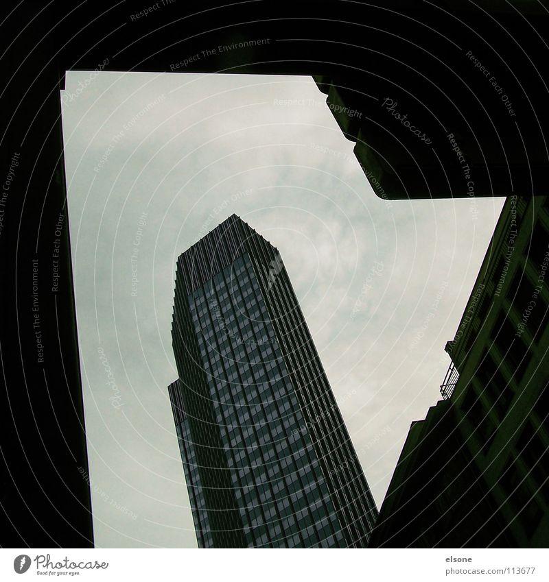 ::DRIVE:: Frankfurt am Main Stadt Piktogramm Haus Gebäude Hochhaus eckig schwarz grau dunkel groß Straßennamenschild verdeckt Gasse Mittelformat Tasche Zeit a.