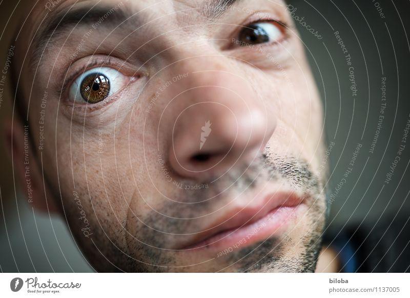Blickst Du's? Mensch maskulin Mann Erwachsene Auge 1 30-45 Jahre Durchblick Farbfoto Textfreiraum rechts Schwache Tiefenschärfe Blick in die Kamera
