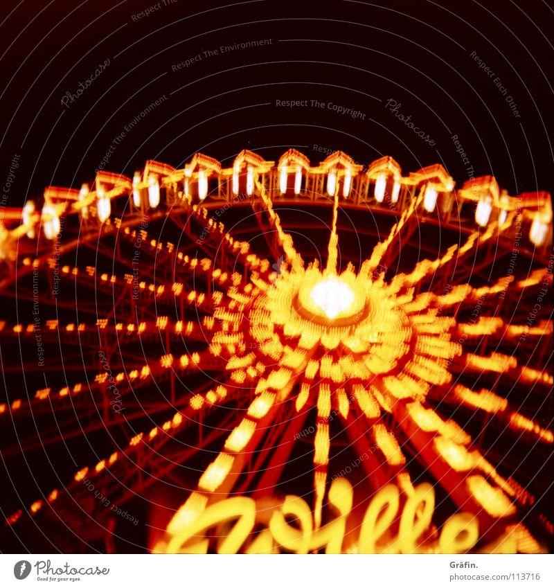 Kreisfahrt Freude dunkel groß Kindheitserinnerung Macht rund Romantik Aussicht drehen Jahrmarkt Dom Tradition Nachthimmel Riesenrad wackeln Attraktion
