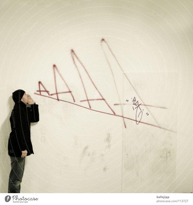 urban tarzan Comic Straßenkunst Kunst Spray Tagger Wand Graffiti Mauer beschmutzen sprechen Lehrer Urwald hören schreien laut ruhig Mütze Mann Selbstportrait