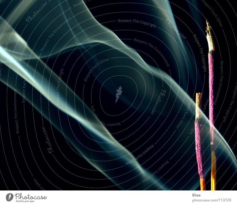 Noch eins?! Muss das sein?! blau Erholung schwarz Nebel Dekoration & Verzierung violett Rauch Duft durchsichtig Geister u. Gespenster Geruch Schweben Indien brennen mystisch Lavendel