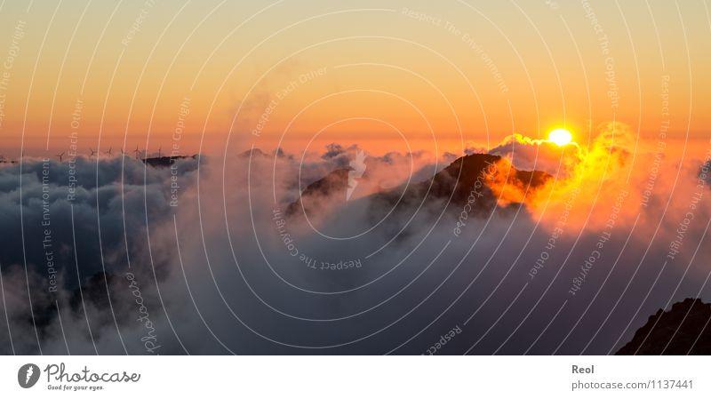 Über den Wolken II Natur Landschaft Urelemente Erde Luft Himmel Sonne Sonnenaufgang Sonnenuntergang Sonnenlicht Sommer Schönes Wetter Hügel Berge u. Gebirge