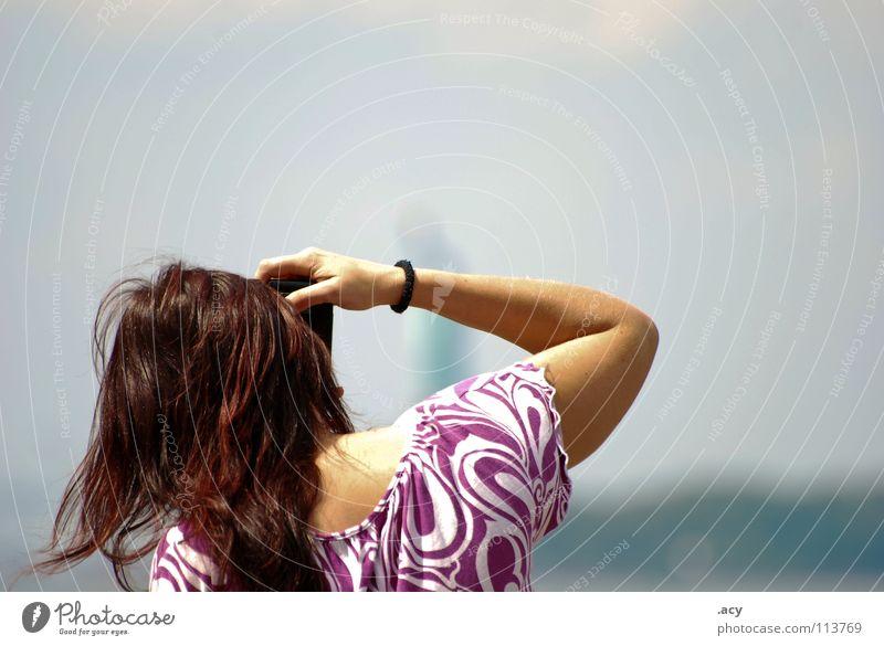 statue of liberty Fotografie Fotografieren violett Frau Sommer Physik Momentaufnahme Schönes Wetter Haare & Frisuren Kopf Wärme photografin machen