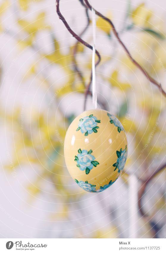 BauernmalerEi gelb Dekoration & Verzierung Ast Ostern Kitsch hängen bemalt Osterei Krimskrams Sammlerstück Hühnerei Blumenmuster