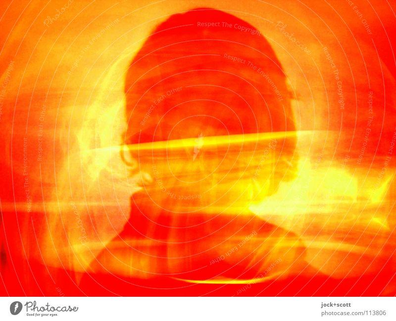Silhouette einer Frau in feuerrot feminin Kopf 1 Mensch langhaarig leuchten träumen fantastisch gelb orange Gefühle Leidenschaft Identität skurril Surrealismus