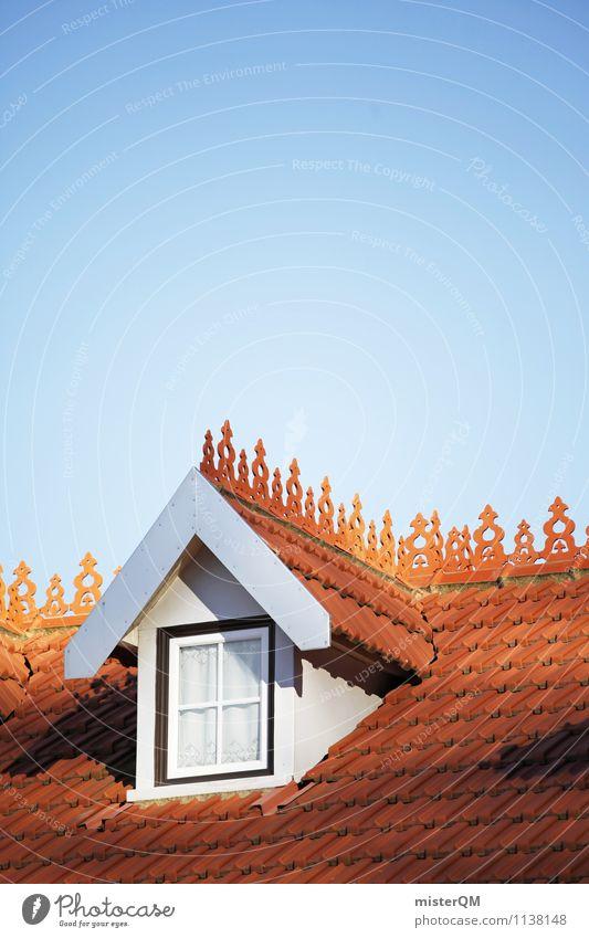 Dachfenster. Kunst ästhetisch Dachgiebel Dachziegel Dachgeschoss Fenster Haus Blauer Himmel Farbfoto Gedeckte Farben Außenaufnahme Detailaufnahme Experiment