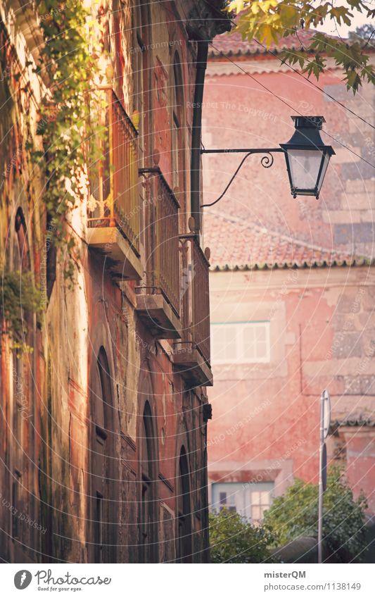 rose-coloured. Kunst rosa Fassade Idylle ästhetisch Romantik Straßenbeleuchtung mediterran Gasse verträumt