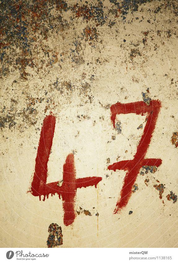 47. Kunst ästhetisch Schmiererei Ziffern & Zahlen Nummerntafel Wand retro alt schäbig Hausnummer Farbfoto Gedeckte Farben Außenaufnahme Detailaufnahme abstrakt