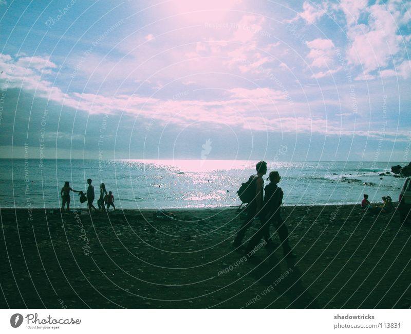 Sonnenuntergang Mensch Wasser Himmel Sonne Meer blau Strand Ferien & Urlaub & Reisen Wolken Europa Afrika Asien Amerika türkis Spanien Brasilien