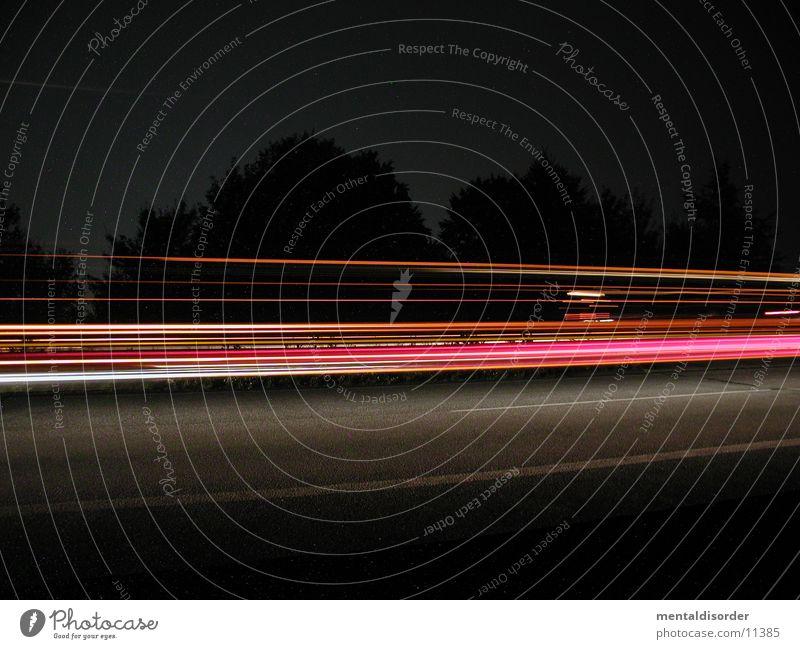 nightshots weiß Baum rot Ferien & Urlaub & Reisen gelb Straße Bewegung Lampe Geschwindigkeit Sträucher Streifen fahren Niveau lang Autobahn Club