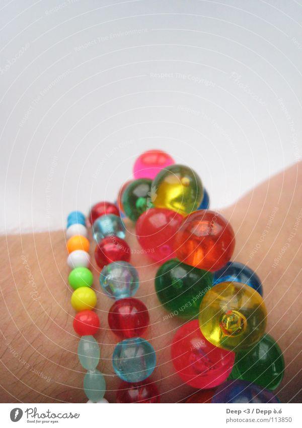 Ein bisschen Farbe bitte weiß grün blau rot gelb orange Haut Arme rosa 3 Kugel Schnur Reichtum türkis Perle Kette