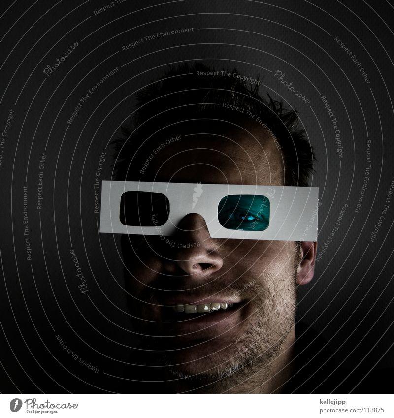 web 2.0 Mensch Mann Gesicht verrückt geschlossen Netzwerk neu Coolness Zukunft Brille Fernsehen Bildung Information Maske einzigartig