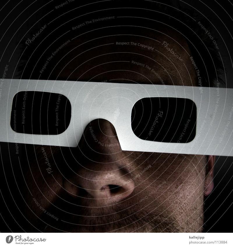 web 2.0 total Mensch Mann Freude Gesicht geschlossen verrückt neu Zukunft Netzwerk Coolness Brille einzigartig Fernsehen Maske Information