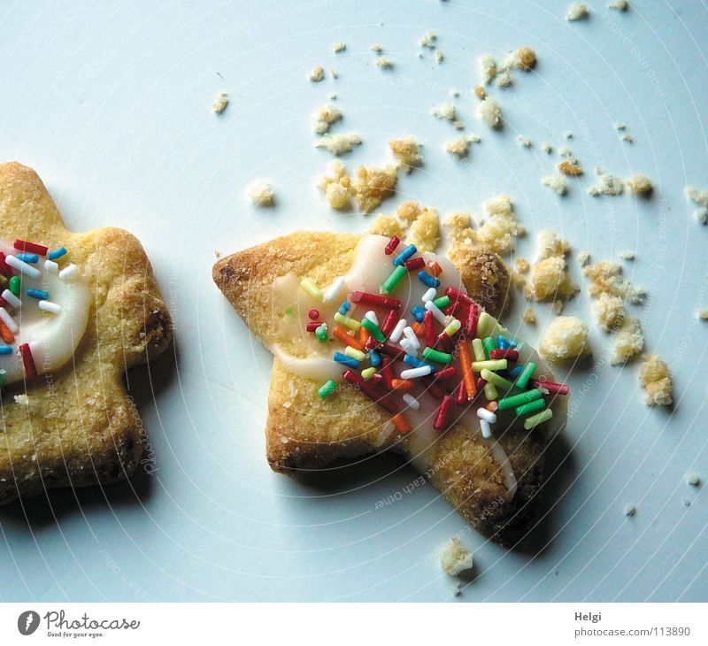 angeknabbert.... Weihnachten & Advent Freude liegen Ernährung genießen Kochen & Garen & Backen Ecke Stern (Symbol) lecker Süßwaren Backwaren Teigwaren Plätzchen