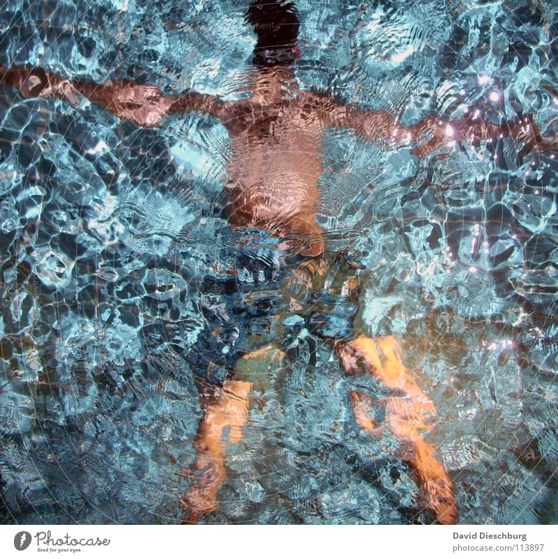23 Grad Wassertemperatur Jugendliche Erwachsene Schwimmen & Baden einzeln Schwimmbad tauchen bizarr Wasseroberfläche anonym Badehose Wasserwirbel unkenntlich
