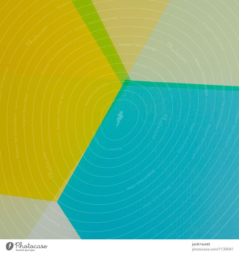 Buntfilm mit Kanten Stil Design Grafik u. Illustration Dekoration & Verzierung Strukturen & Formen Ecke Geometrie eckig einfach trendy modern blau gelb