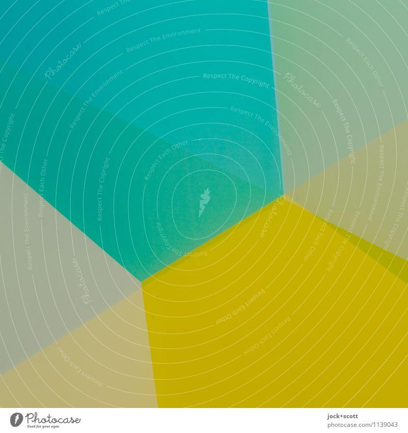 Farbfilm Grafik u. Illustration Strukturen & Formen eckig einfach gelb türkis Doppelbelichtung Reaktionen u. Effekte Farbenspiel minimalistisch Geometrie