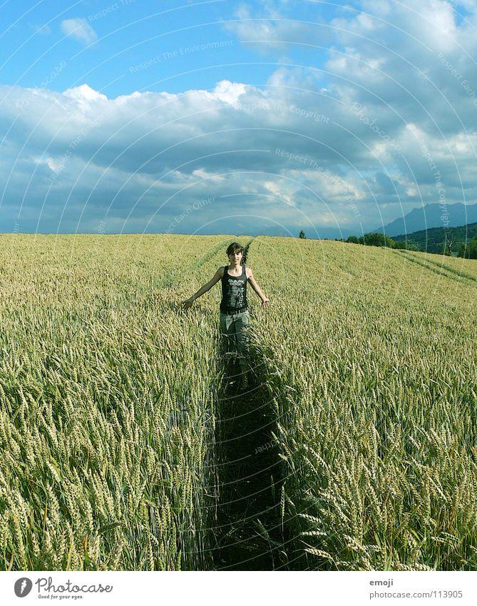 ein letztes Mal noch zurück! springen Feld Weizen Weizenfeld Kornfeld Sommer Frühling Jugendliche Fröhlichkeit Wolken Gesundheit Herbst Spielen Leben live