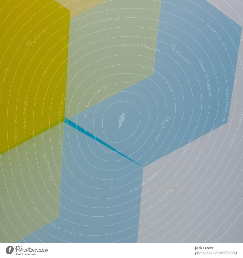 Wellenfarbe Stil Design Grafik u. Illustration Dekoration & Verzierung Ornament Strukturen & Formen Geometrie Quadrat ästhetisch eckig einfach trendy blau gelb