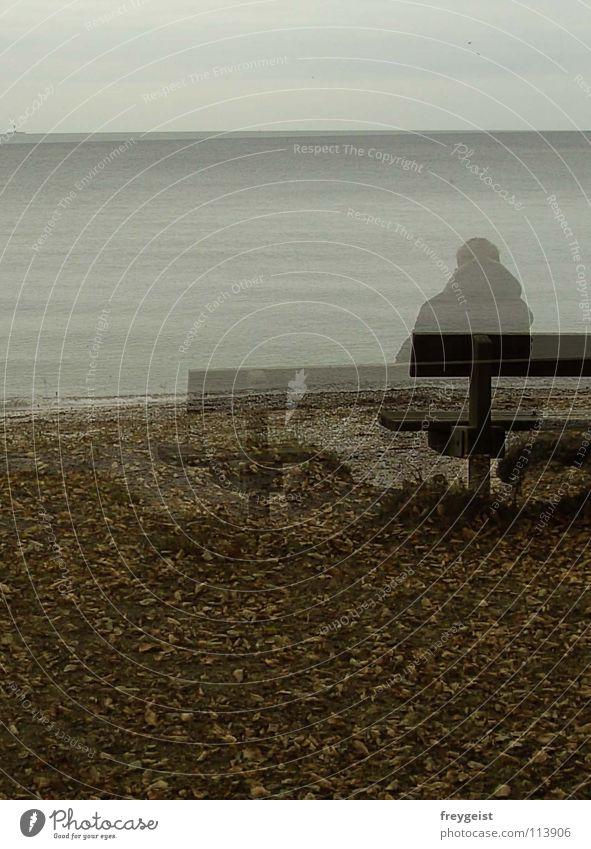 Presence of a Ghost Mensch Wasser Meer Strand ruhig Herbst trist Bank zart durchsichtig Ostsee Geister u. Gespenster Denken Gegenwart