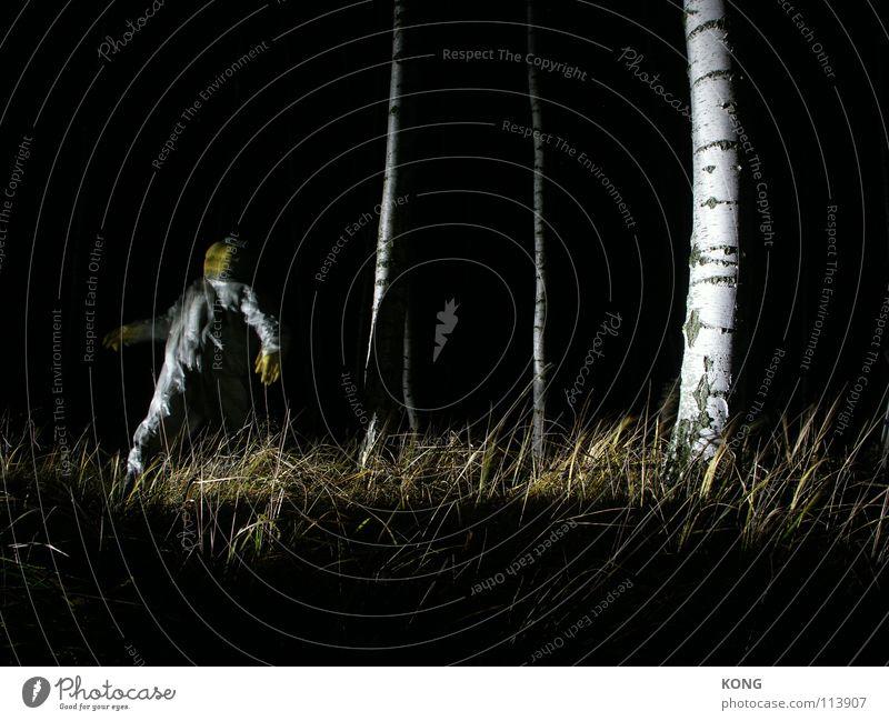 fader gelb grau grau-gelb Wald Anzug Schutzanzug verrückt Nacht Langzeitbelichtung Birke Angst Panik gefährlich deep in the woods tief im wald Natur grey