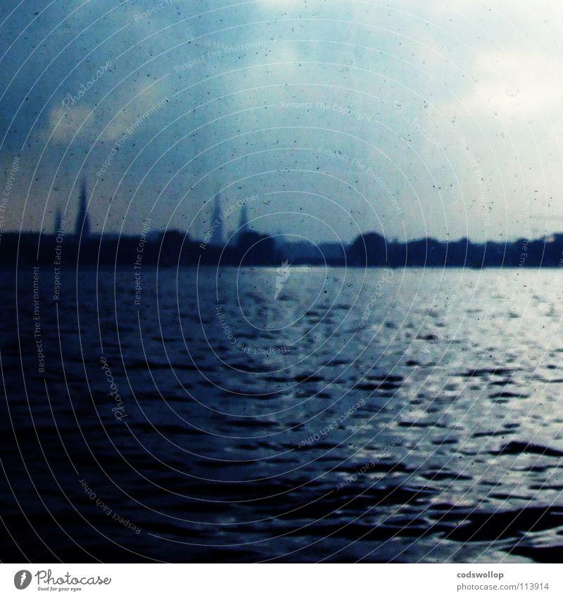 wassermusik Himmel Stadt Wasser See Horizont Hamburg Skyline Schifffahrt Alster Binnenalster Turmspitze Außenalster Uhlenhorst
