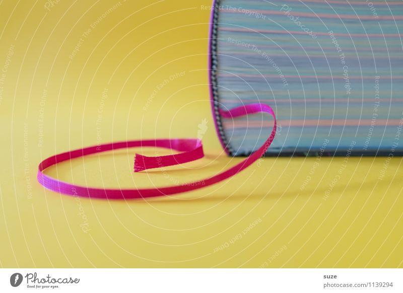 Geduldsfaden Lifestyle Stil Design lesen Bildung Schule lernen Studium Kultur Printmedien Buch Zeichen dick einfach Neugier klug gelb Weisheit Beginn Idee