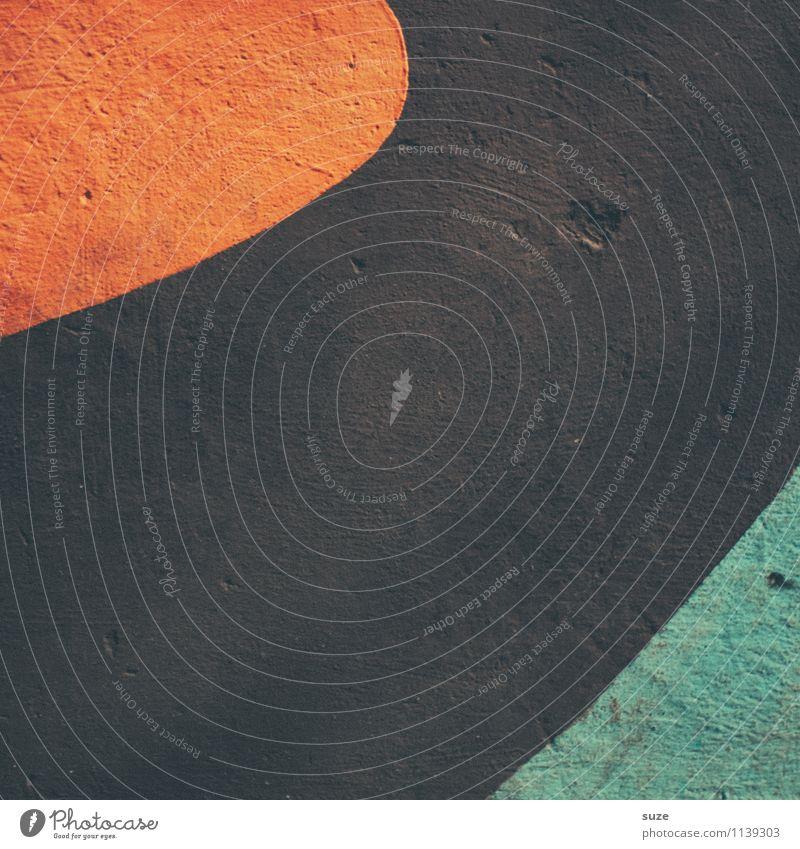 Retro Stil Design Mauer Wand Fassade Zeichen Linie einfach retro rund braun orange türkis Grafik u. Illustration graphisch Bogen minimalistisch Hintergrundbild