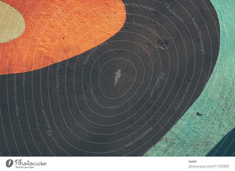Alte Platte, neu aufgelegt Stil Design Kultur Jugendkultur Subkultur Schallplatte Mauer Wand Zeichen Linie einfach retro rund braun orange türkis Identität