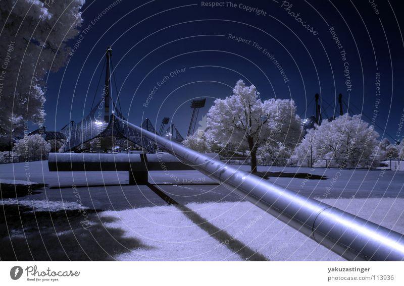 Moonlight Mile Infrarotaufnahme Farbinfrarot weiß Baum Wiese München Langzeitbelichtung blau Rasen Himmel Woodeffect Architektur