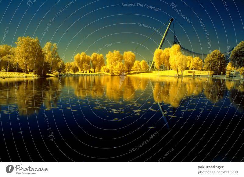 go yellow gelb türkis Infrarotaufnahme Farbinfrarot Baum Hecke Wiese blau mystisch Langzeitbelichtung Wasser Himmel Farbtausch channelshifting Rasen Architektur