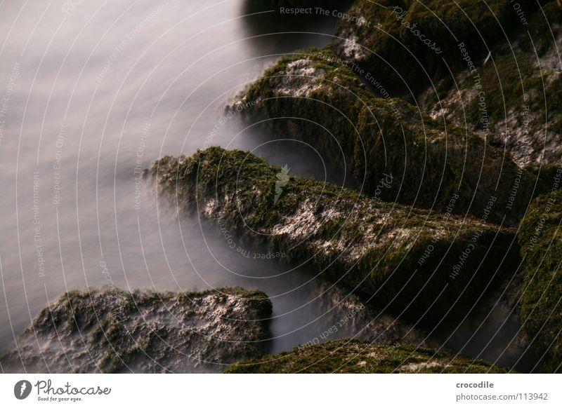 uferbefestigung im nebel Langzeitbelichtung Nebel mystisch Fluss Inn Wasser Stein Felsen abstrakt Flussufer