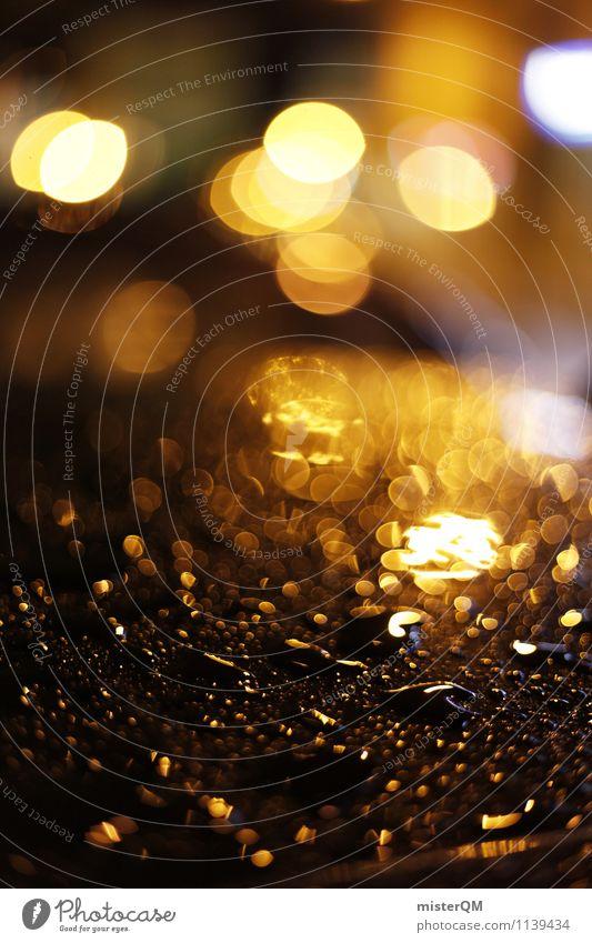 Golden Bokeh. Kunst ästhetisch Zufriedenheit Unschärfe Schwache Tiefenschärfe nass Regenwasser Wassertropfen Autodach Grossstadtromantik dezent gold Farbfoto