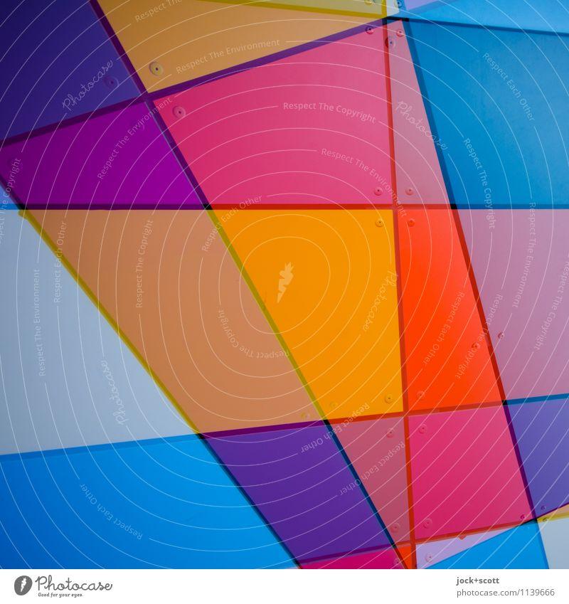 Buntplatte Stil Design Grafik u. Illustration Dekoration & Verzierung Metall Ornament Linie Netzwerk Geometrie Strukturen & Formen ästhetisch eckig trendy