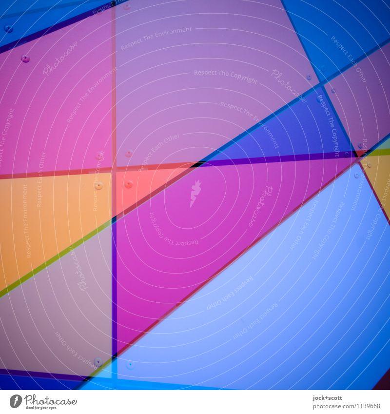 Bund Bunt Stil Grafik u. Illustration Dekoration & Verzierung Metall Ornament Linie Netzwerk Geometrie Strukturen & Formen Dreieck ästhetisch eckig trendy