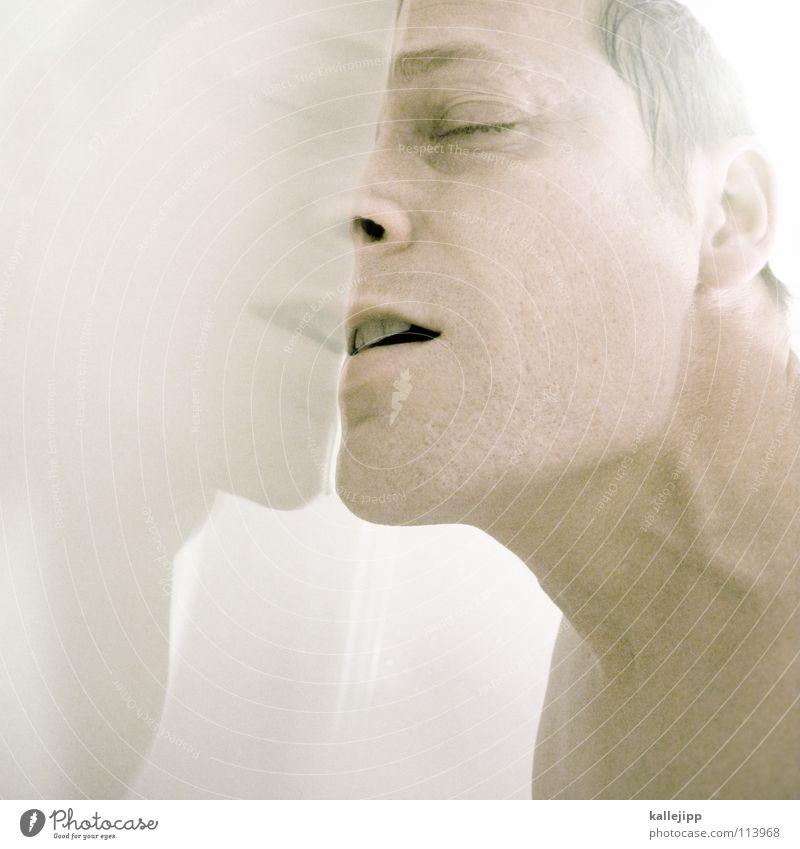 zu heiss gebadet kalt abgebrüht Bad Porträt liquide Dimension Rauschmittel Illusion Dickkopf stur Hölle Eingang Schlag Wasseroberfläche Oberflächenspannung Mann