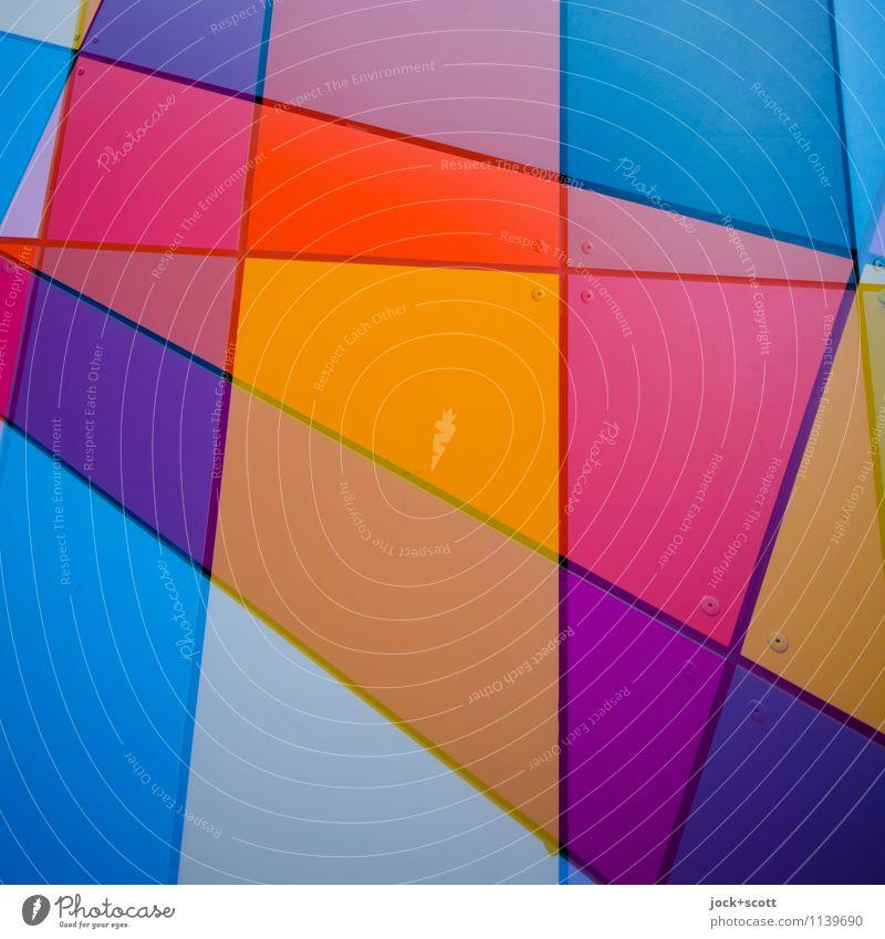 kunterbunt Dekoration & Verzierung Metall Strukturen & Formen Geometrie eckig modern Einigkeit Kreativität Doppelbelichtung Reaktionen u. Effekte Farbenspiel
