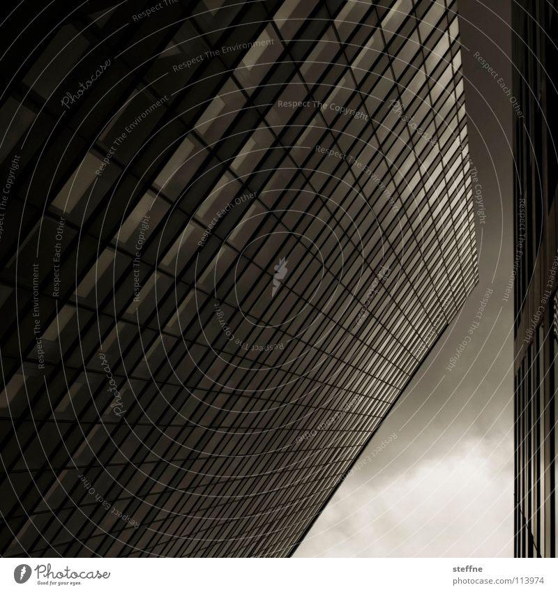 Lambda, stilisiert Himmel Stadt Haus dunkel Business Arbeit & Erwerbstätigkeit hoch modern Hochhaus Erfolg Industrie Macht Mitte Gastronomie Medien