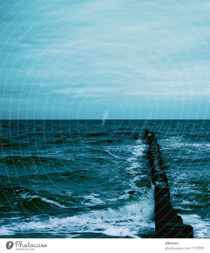 Wasserkälte Himmel weiß Meer blau Holz Luft Wellen Schaum Buhne Holzpfahl