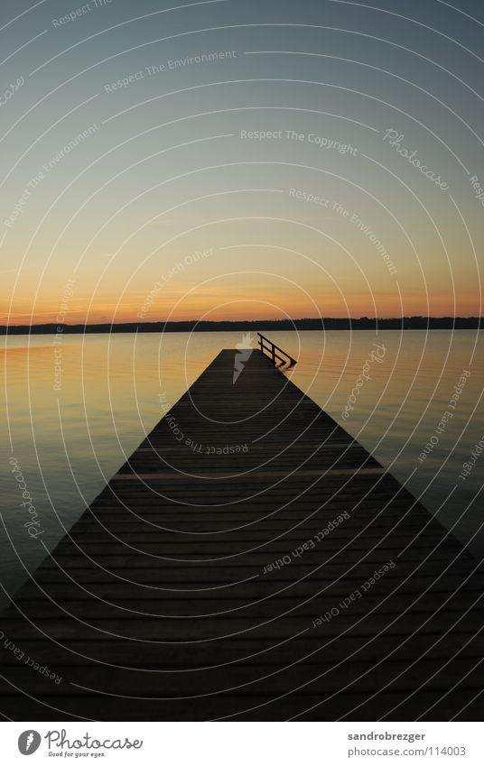 Starnberger See like paradise Wasser ruhig See Horizont Abenddämmerung Starnberger See