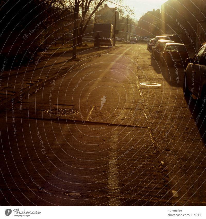 Guter Morgen XIII Beton Licht Sonnenaufgang Arbeit & Erwerbstätigkeit Gegenlicht Schacht parken Physik Stimmung Spuren analog Dia Baum Naht Teer Asphalt Stadt