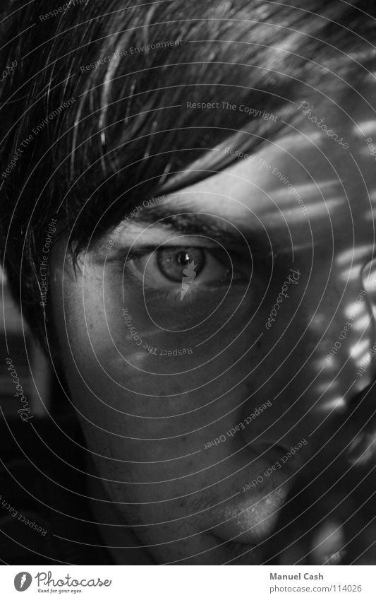 Schatten weiß Gesicht schwarz Auge dunkel Konzentration Filter