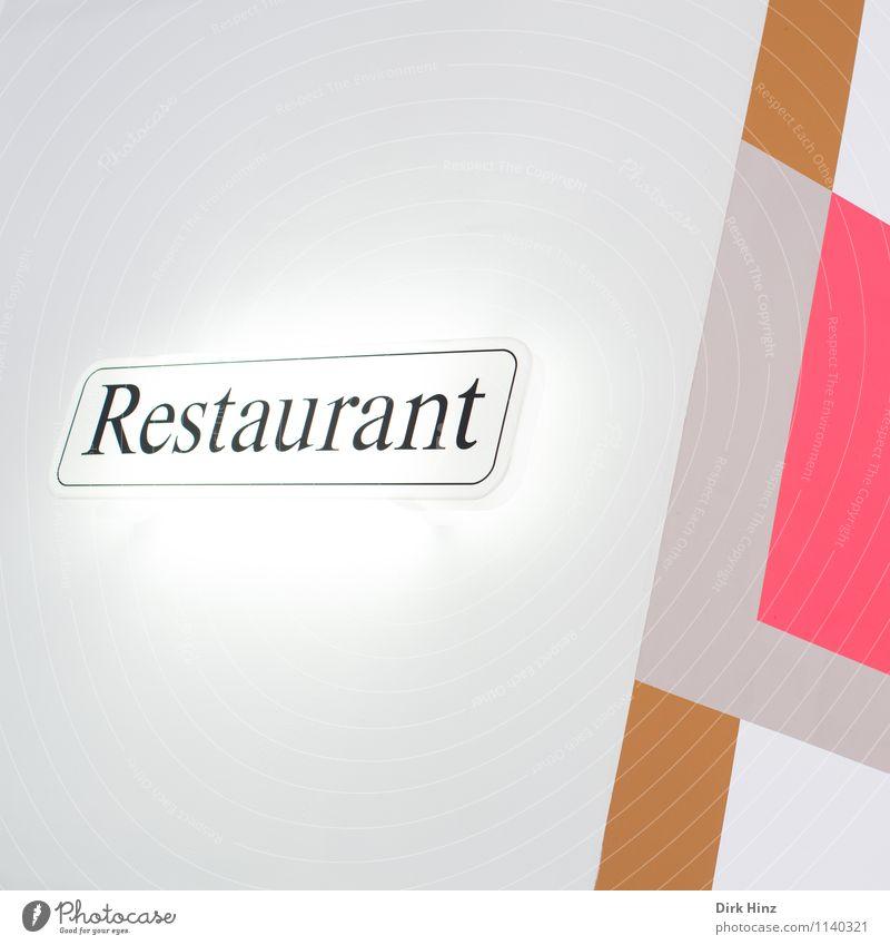 Restaurant ums Eck weiß schwarz Wand Architektur Essen Stil Gebäude Lifestyle Mauer Feste & Feiern braun Linie Fassade hell rosa Design