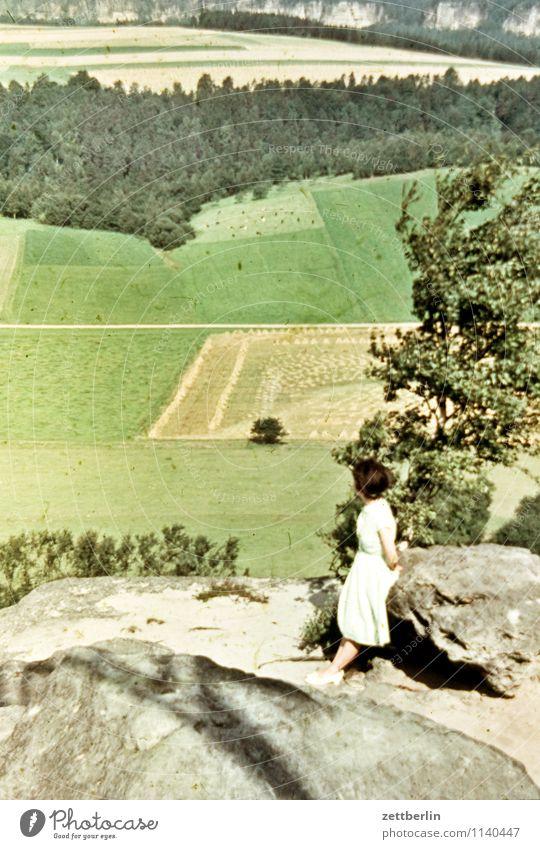 Ursel, Sächsische Schweiz, 1958 Mensch Frau Natur Ferien & Urlaub & Reisen Sommer Junge Frau Erholung Einsamkeit Landschaft Ferne Wald Berge u. Gebirge Mode