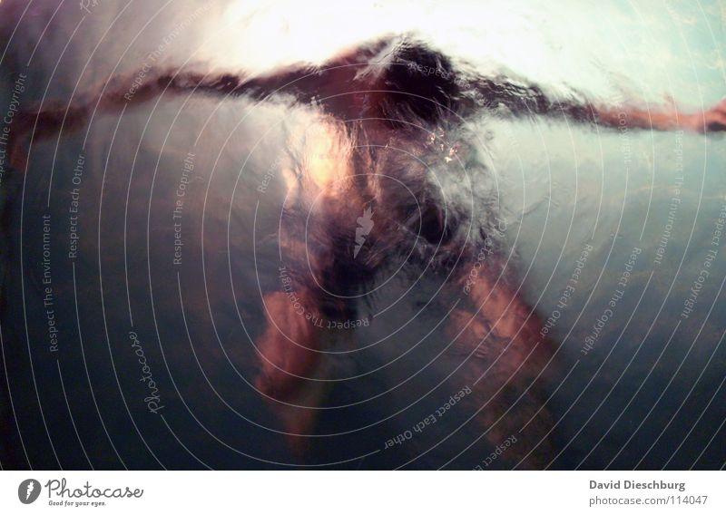 Winterschlaf Jugendliche Erwachsene Schwimmen & Baden einzeln tauchen bizarr Wasseroberfläche anonym Wasserwirbel unkenntlich gesichtslos unerkannt 1 Mensch