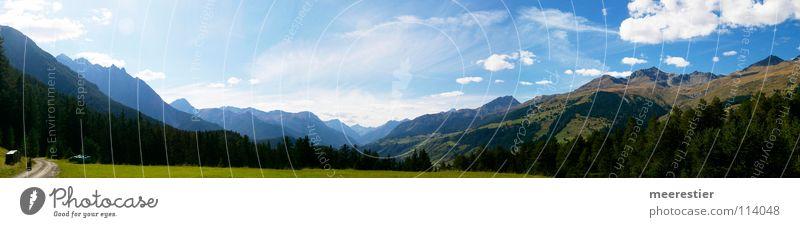 Der Engadin Kinderwagen Wolken Wald Panorama (Aussicht) Berge u. Gebirge Schweiz Highres Himmel Raum Panorama (Bildformat)