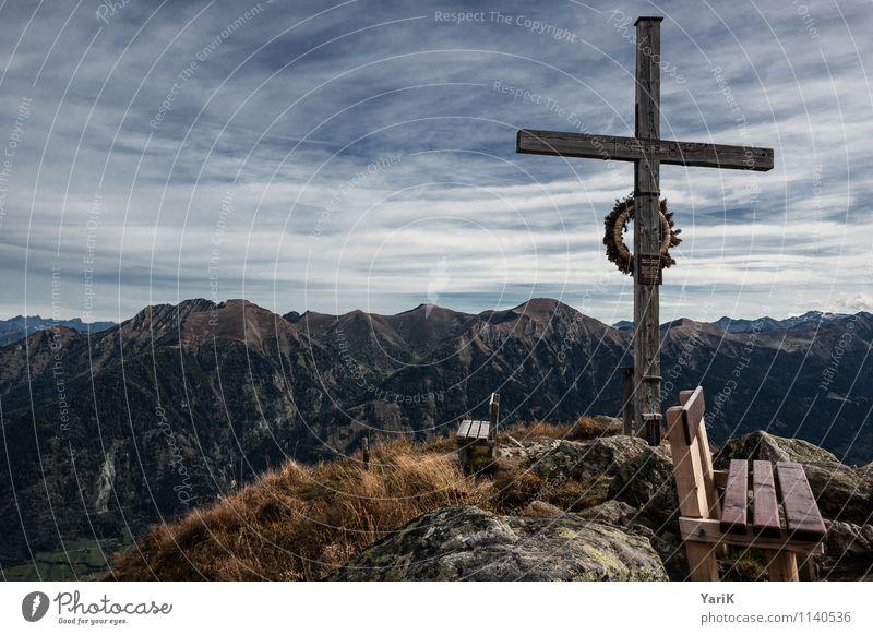 ganz oben Himmel Ferien & Urlaub & Reisen Erholung Wolken Ferne Berge u. Gebirge Herbst Freiheit braun Horizont Freizeit & Hobby Kraft Tourismus wandern Aussicht Ausflug